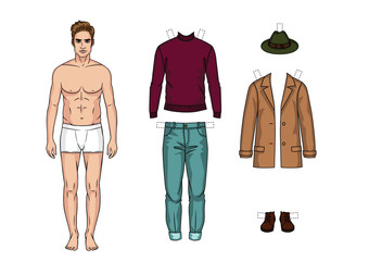The guy in the underwear is standing in front. Paper doll of a man. Set of warm winter casual clothes for men