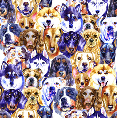 Watercolor illustration set of dogs, seamless pattern isolated on white background