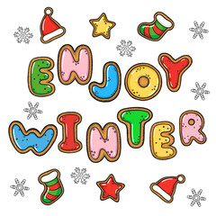 Hand drawn vector enjoy winter greeting card