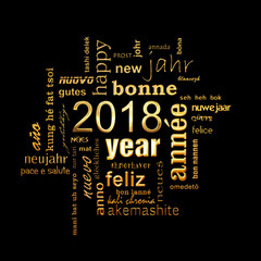 2018 new year multilingual golden text word cloud square greeting card on black background