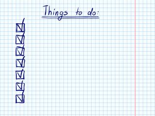 Doodle checklist task planner to do blue pen sketch 2