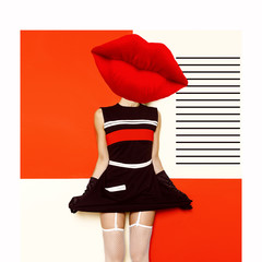 Contemporary art collage. Geometry and make-up concept. Red lips. Pop Art. Vintage glamor Lady