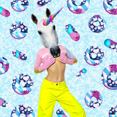 Contemporary art collage. Concept my unicorn life. White Party Unicorn in  dreams background. Donuts and Tablets