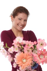 Portrait of happy woman with flowers