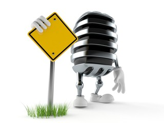Microphone character with blank road sign