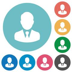 Businessman avatar flat round icons