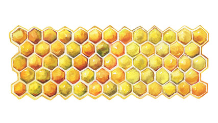 Geometric texture, pattern of a golden section of wax honeycomb. Natural sweet fresh honeycomb honey.  Watercolor hand drawn painting illustration isolated on white background.