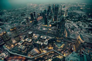 Dubai skyline with amazing city and highway on traffic.