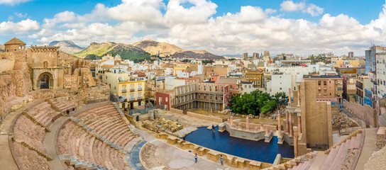 Panoramic view at the Cartagena from ancient Roman thetre, Spain