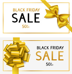 Black friday sale template. Decorative holiday banner with golden bow and sale text on white background.