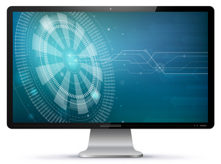 Computer Screen With Technology Wallpaper Vector Illustration isolated on white.