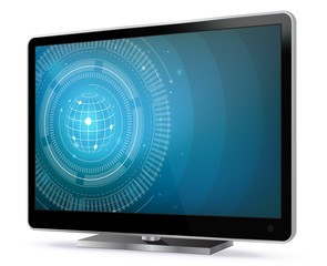 TV Screen With Technology Wallpaper Vector Illustration isolated on white.