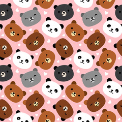 Cute Bear Seamless Pattern, Cartoon Hand Drawn, Vector illustration