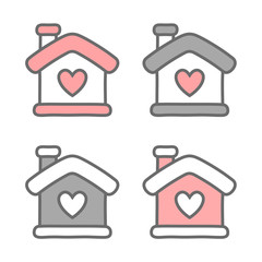 Hand Drawn Home with Heart icon, Vector illustration