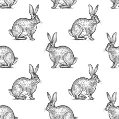 Seamless pattern with hare.