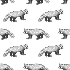 Seamless pattern with red panda.