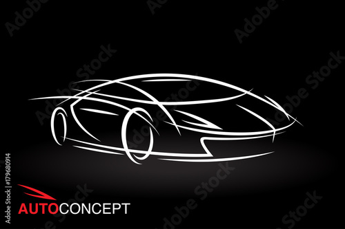 Abstract Auto Concept Vehicle Design With Model Style Sketch Outline