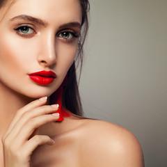 Beautiful Fashion Model Woman with Makeup Healthy Skin, Female Face Closeup