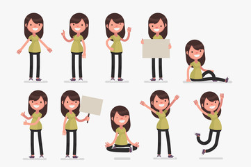 Female character in casual clothes in different poses: Vector illustration. Wall mural