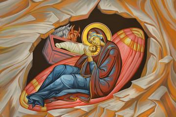 Jesus birth illustration in Byzantine style