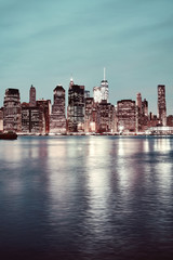 Manhattan at night, color toned picture, New York, USA.