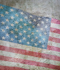 image of flag of America against the old wall background