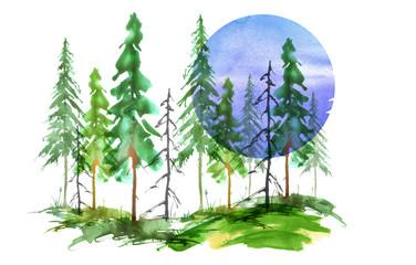 Watercolor silhouette of a coniferous forest. Green Pine, cedar, fir, larch. A blue moon, a lunar eclipse.