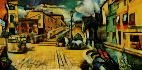 Cozy small streets in the province of Italy and Venice. Executed in oil on canvas in the painting style of Georges Braque. Contemporary abstraction in yellow and green tones.