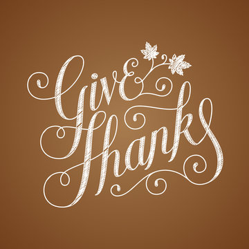 GIVE THANKS hand lettered card with autumn leaves