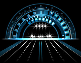 HUD. Brilliant technological eye on a black background. Car with lights on. head display. Road, highway. illustration