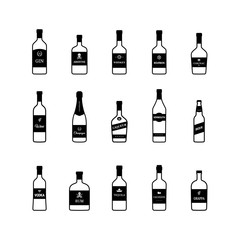 Bottles of alcoholic beverages black and white icons. Vector