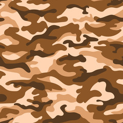 Military camouflage seamless pattern, beige brown color. Vector