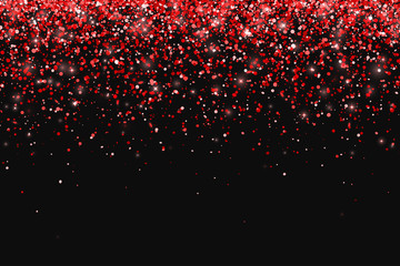 Red glitter on black background, falling particles. Vector