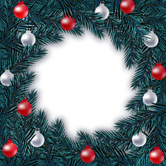 New Year Christmas. Blue branch of spruce in a circle with silver and red balls on a white background. Isolated Illustration