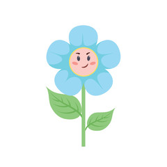 Cartoon trendy style flower with smiling face. Baby boy and child symbol. Vector illustration.