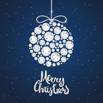 Christmas decoration of sparkling precious gems. White shining diamonds, round shape. For New Year and xmas design