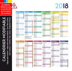 Calendrier 2018 / 12 mois MODIFIABLE avec actualisation officielle des dates pour la zone B (B1, B2)