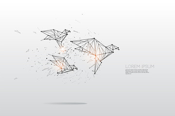 The particles, geometric art, line and dot of bird flying