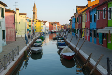 Evening on the colorful Burano island. Venice, Italy
