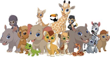 Set of funny kids animals