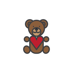 Teddy bear with heart filled outline icon, line vector sign, linear colorful pictogram isolated on white. Love and valentine's day symbol, logo illustration. Pixel perfect vector graphics