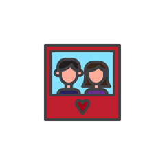 Picture of a couple in love filled outline icon, line vector sign, linear colorful pictogram isolated on white. Symbol, logo illustration. Pixel perfect vector graphics