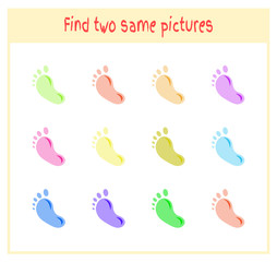 Cartoon Vector Illustration of Finding Two Exactly the Same Pictures Educational Activity for Preschool Children with footprint