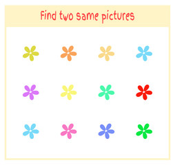 Cartoon Vector Illustration of Finding Two Exactly the Same Pictures Educational Activity for Preschool Children with flowers