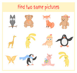 Cartoon Vector Illustration of Finding Two Exactly the Same Pictures Educational Activity for Preschool Children with animals owl, bear Teddy, hippo, Fox, giraffe, penguin, butterfly
