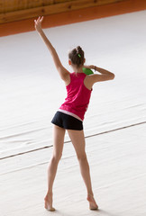 girl with a ball on a professional gymnast