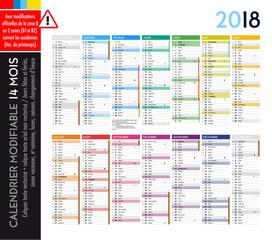 Calendrier 2018 / 14 mois MODIFIABLE avec actualisation officielle des dates pour la zone B (B1, B2)