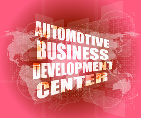 business concept, automotive business development center digital touch screen interface