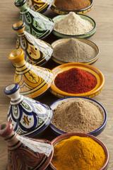 Wall Mural - Diversity of Moroccan powder herbs