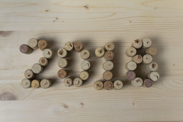 Wine corks closeup 2018. New Year's decorations